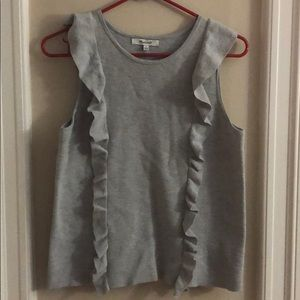 Grey ruffled Madewell tank